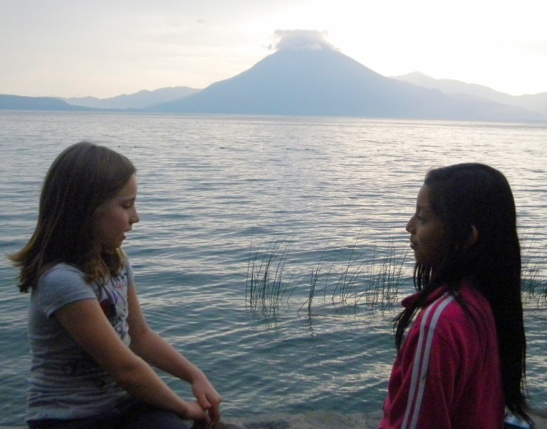 Kristina's daughter Phoebe with Vivi in Panajachel, Guatemala