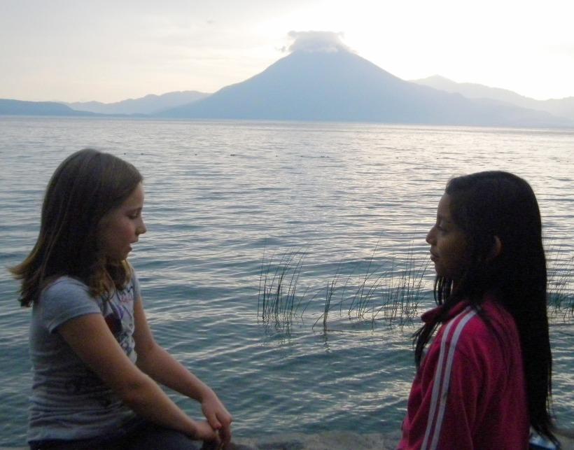 Kristina's daughter Phoebe with Vivi in Panajachel, Guatemala